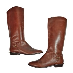 Etienne Aigner Knee High Brown Leather Boots 8.5